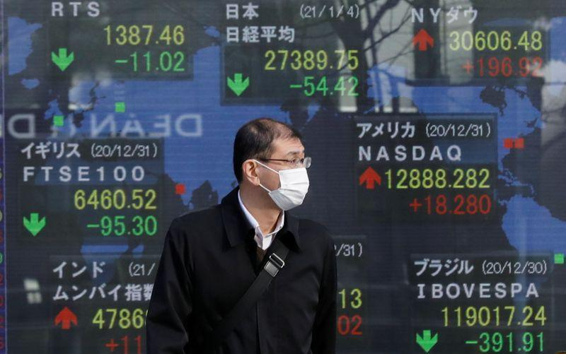 Asian shares hit two-week lows, dollar gains as investors scurry for cover