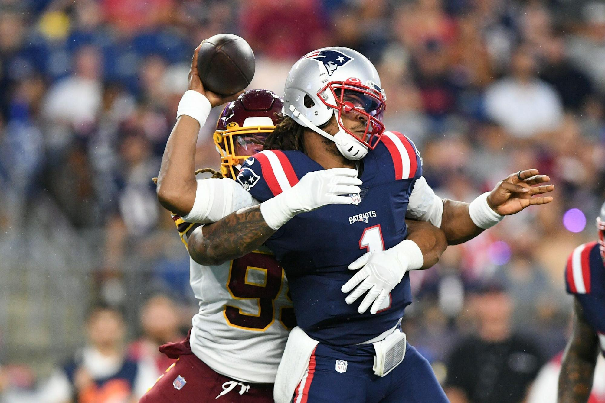 Chase Young sacks, strips ball from Patriots' Cam Newton in preseason game