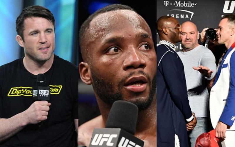 Chael Sonnen (left); Leon Edwards (center); Usman-Covington face-off ahead of their first fight in 2019 (right)