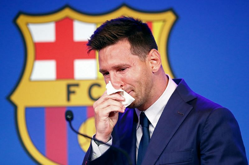 Lionel Messi at his final Barcelona press conference (Photo by Eric Alonso/Getty Images)