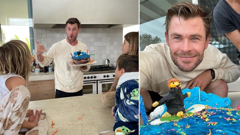 Marvel Star Chris Hemsworth Is Delighted With the Beautiful Birthday Cake Baked by His Kids (See Pics)