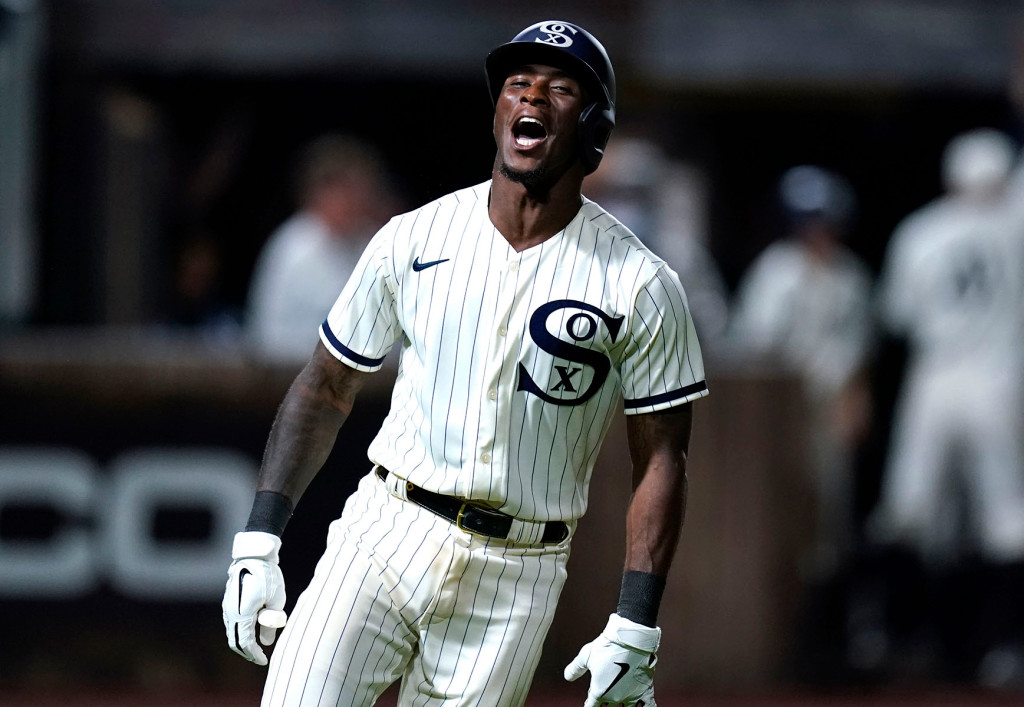 Tim Anderson celebrates after hitting the game-winning two-run homer in the ninth inning of the Yankees