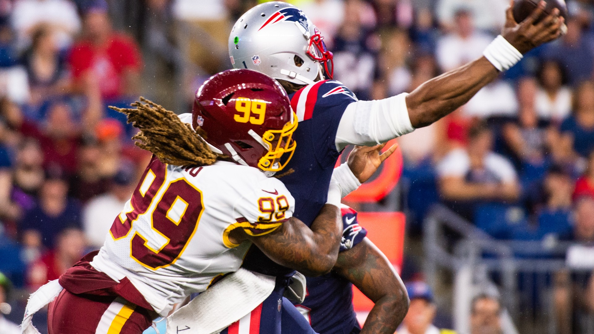 Washington's Chase Young sets Twitter ablaze with hit on Patriots' Cam Newton in preseason debut