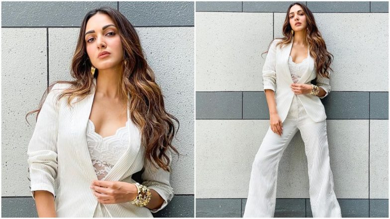 Yo or Hell No? Kiara Advani's White Pantsuit by Amit Aggarwal for Shershaah Promotions